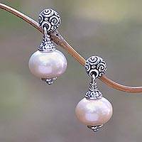 Cultured pearl dangle earrings, 'Pink Buddha's Curls' - Pink Cultured Pearl Dangle Earrings from Bali