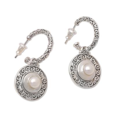 Reversible Cultured Pearl and Garnet Dangle Earrings