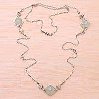 Chalcedony and peridot long station necklace, 'Buddha Gems' - Chalcedony and Peridot Long Station Necklace from Bali