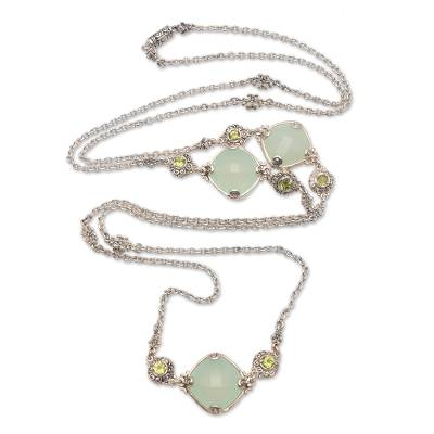Chalcedony and Peridot Long Station Necklace from Bali