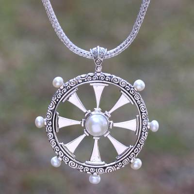 Cultured pearl pendant necklace, 'Buddha's Wheel' - Nautical Cultured Pearl Pendant Necklace from Bali