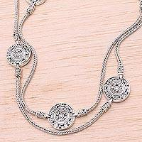 Sterling silver long station necklace, 'Buddha's Coins'