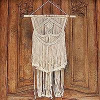 Cotton wall hanging, 'Macrame Breeze' - Hand-Knotted Macrame Wall Hanging in Ivory from Bali