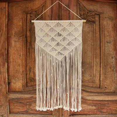 Cotton wall hanging, 'Macrame Geometry' - Geometric Cotton Wall Hanging in Ivory from Bali