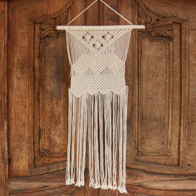 Cotton wall hanging, 'Magical Macrame' - Handmade Geometric Cotton Wall Hanging from Bali