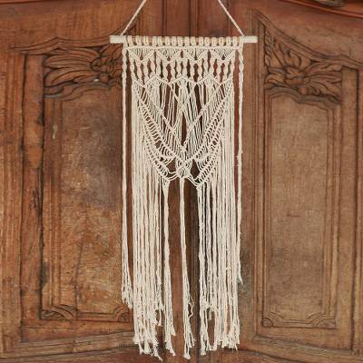 Cotton wall hanging, 'Macrame Bliss' - Hand-Knotted Fringed Cotton Wall Hanging from Bali