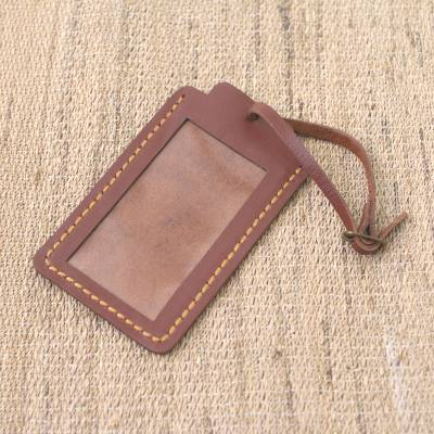 Leather luggage tag, 'Identity in Brown' - Brown Leather Luggage Tag in Black Crafted in Java