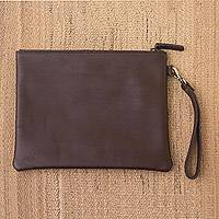 Leather handbag, 'Espresso Simplicity' - Simple Leather Handbag in Espresso from Java