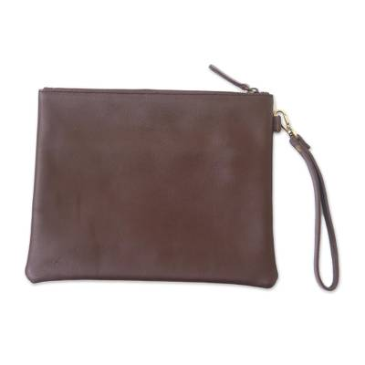 Simple Leather Handbag in Espresso from Java