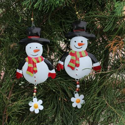 Steel ornaments, 'Snowman Delight' (pair) - Handcrafted Steel Snowman Ornaments from Bali (Pair)