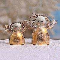 Wood desk ornaments, 'Happy Angels' (pair) - Distressed Gold-Tone Wood Angel Desk Ornaments (Pair)
