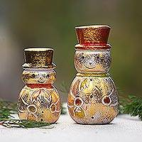 Wood desk ornaments, 'Smiling Snowmen' (pair) - Distressed Gold-Tone Wood Snowman Desk Ornaments (Pair)