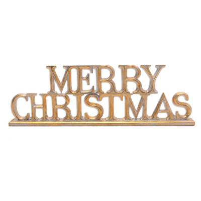 Distressed Gold-Tone Wood Christmas Decor from Bali