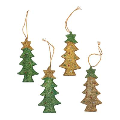 Sparkling Wood Christmas Tree Ornaments from Bali (Set of 4)