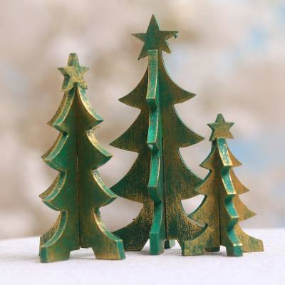 Wood tabletop decor, 'Three Christmas Trees' (set of 3) - Wood Christmas Tree Tabletop Decor from Bali (Set of 3)
