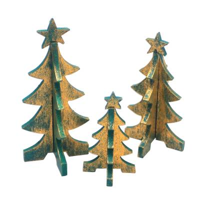 Wood Christmas Tree Tabletop Decor from Bali (Set of 3)