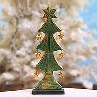 Wood tabletop decor, 'Starry Christmas Tree' - Wood Christmas Tree Tabletop Decor from Bali