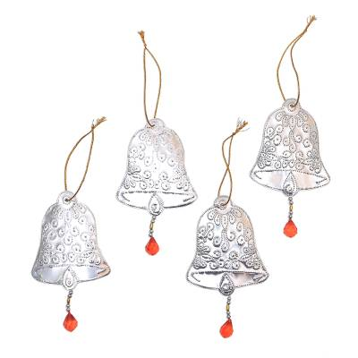 Bell-Shaped Aluminum Ornaments from Bali (Set of 4)