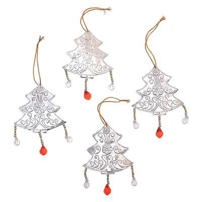 Aluminum Christmas Tree Ornaments from Bali (Set of 4)