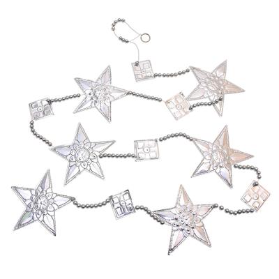 3 Star-Shaped Aluminum Ornament Garlands from Bali