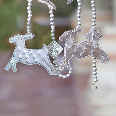 Aluminum ornament garland, 'Flying Reindeer' - Aluminum Reindeer Ornament Garland Crafted in Bali