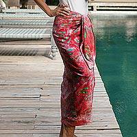 Women/'s Batik Robe Hand-stamped Patterns Rayon /'Vintage Baliku/' NOVICA Bali