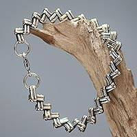 Men's sterling silver bracelet, 'Zigzag Trance' - Handmade Men's Sterling Silver Link Bracelet