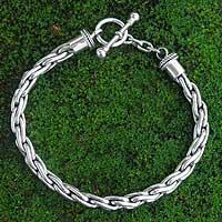 Sterling silver braided bracelet, 'Twist Sphere' - Handmade Braided Sterling Silver Chain Bracelet