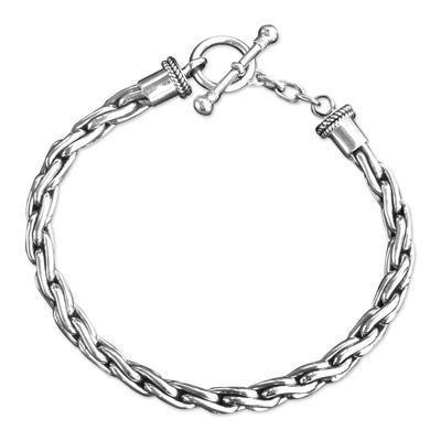 Handmade Braided Sterling Silver Chain Bracelet