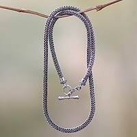 Sterling silver chain necklace, 'Skin and Snake'