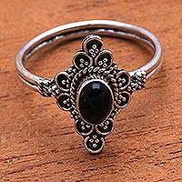 Onyx cocktail ring, 'Daydream Temple'