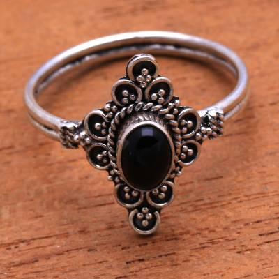 Onyx cocktail ring, 'Daydream Temple' - Handcrafted Onyx Cocktail Ring from Bali