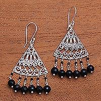 Onyx chandelier earrings, 'Spiral Fascination' - Spiral Pattern Onyx Chandelier Earrings from Bali