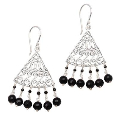 Onyx chandelier earrings, 'Spiral Fascination' - Spiral Pattern Onyx Chandelier Earrings from Bali