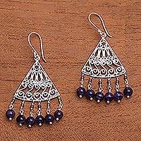 Amethyst chandelier earrings, 'Spiral Fascination' - Spiral Pattern Amethyst Chandelier Earrings from Bali
