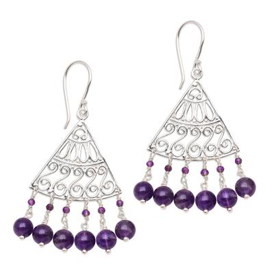 Amethyst chandelier earrings, 'Spiral Fascination' - Spiral Pattern Amethyst Chandelier Earrings from Bali