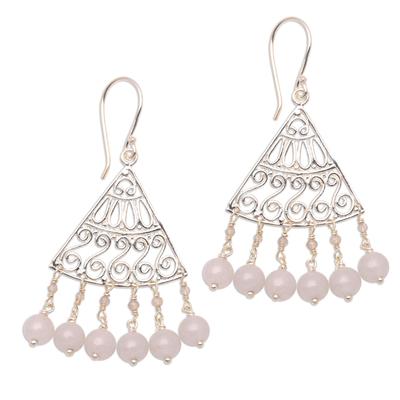 Spiral Pattern Moonstone Chandelier Earrings from Bali