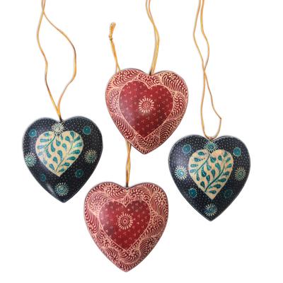 Batik wood ornaments, 'Traditional Nature' (set of 4) - Leaf Motif Batik Wood Ornaments from Java (Set of 4)