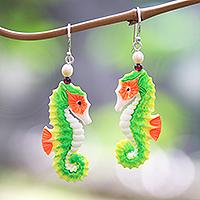 Bone dangle earrings, 'Happy Seahorses' - Bone Seahorse Dangle Earrings with Pearl and Amethyst