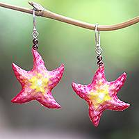 Bone and amethyst dangle earrings, 'Happy Starfish' - Hand-Painted Bone and Amethyst Starfish Dangle Earrings