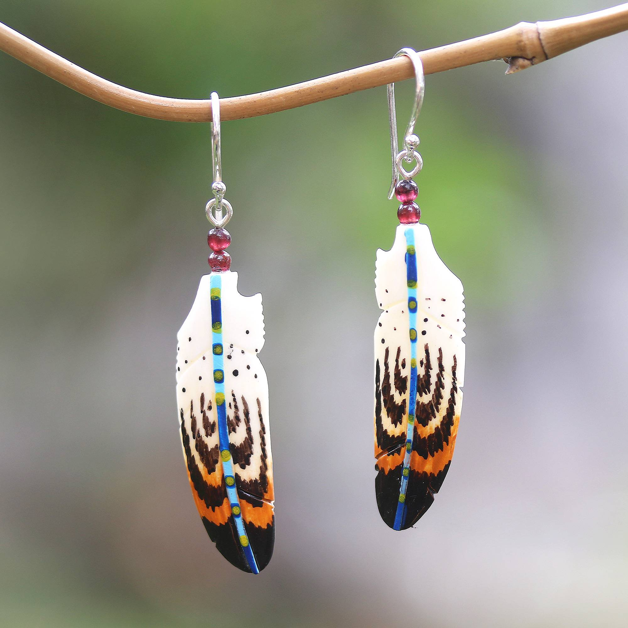 Unicef Market Hand Painted Bone And Amethyst Feather Dangle Earrings Antique Feathers