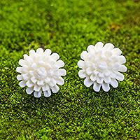 Bone button earrings, 'Fantastic Padma' - Hand-Carved Bone Lotus Flower Button Earrings from Bali