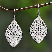 Bone dangle earrings, 'Bali Windows' - Hand-Carved Floral Bone Dangle Earrings from Bali
