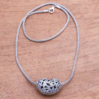 Sterling silver pendant necklace, 'Bali Originality' - Openwork Heart-Shaped Sterling Silver Pendant Necklace