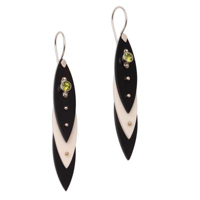 Black and White Bone and Peridot Dangle Earrings