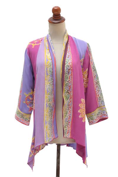Fuchsia and Purple Batik Rayon Kimono Jacket from Bali