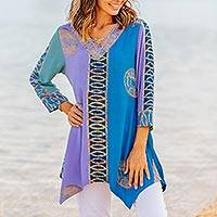 Batik rayon tunic, 'Balinese Waters' - Blue and Purple Batik Rayon Tunic from Bali