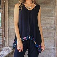 Rayon blouse, 'Flower Colors in Black' - Floral Embroidered Rayon Blouse in Black from Bali