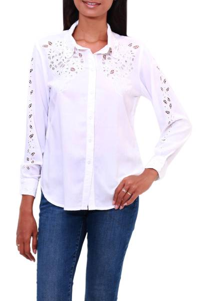 Rayon button-up blouse, 'Floral Cloud in White' - Floral Rayon Button-Front Blouse in White from Bali