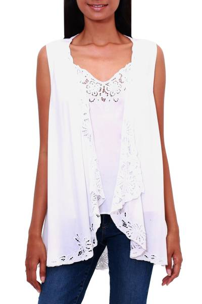 Rayon vest, 'Garden's Glory in White' - Floral Embroidered Rayon Vest in White from Bali